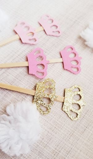 12 Pink & Gold Crown Cupcake Toppers for Sale in Chula Vista, CA