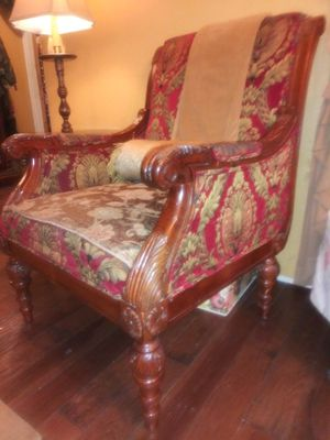 Red and Gold Damask Upholstered Arm Chair for Sale in Downey, CA