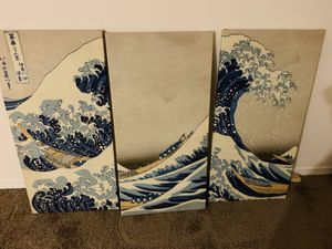 Hiroshige Great Wave Japanese Canvas Panel Pictures for Sale in Portland, OR