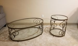 Glass & metal coffee table and end table for Sale in Chicago, IL