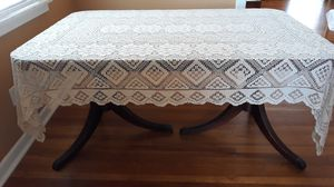 Vintage beige crochet intricate designed tablecloth 7' x 5' excellent shape for Sale in Chula Vista, CA