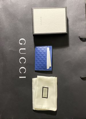 Gucci Signature Leather Card Case Wallet Blue Authentic for Sale in Los Angeles, CA
