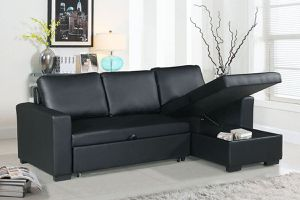 MODERN BLACK BONDED LEATHER SOFA SECTIONAL COUCH ADJUSTABLE BED STORAGE CHAISE for Sale in Downey, CA