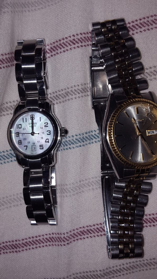 Swiss army and seiko watch. Both battery died. And seiko has a little crack can get it fix. At renton watch shop