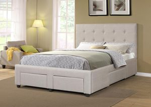 Brand New Queen Size Light Grey Platform Bed w/4 Storage Drawers for Sale in Silver Spring, MD