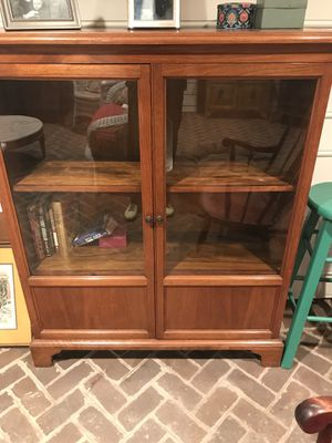 Cherry Two Door Glass Cabinet with two shelves for Sale in Rockville, MD