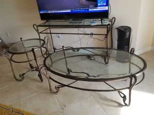 GREAT CONDITION LIVING ROOM SET COFFEE TABLE TV STAND/ENTRY TABLE AND TEA TABLE ALL GLASS for Sale in Hollywood, FL