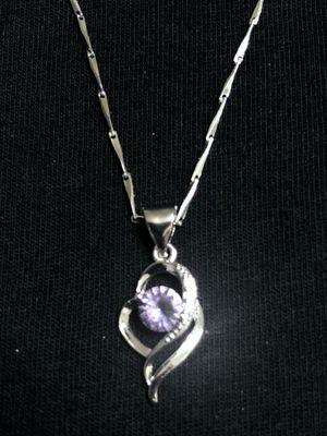 Sterling Silver Purple Love Heart Necklace for Sale in Las Vegas, NV