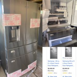 NEW SAMSUNG STAINLESS STEEL FOUR DOOR STAINLESS STEEL REFRIGERATOR for Sale in Riverside,  CA
