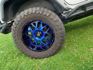 5x - XD Rims - Grenade 20 inch on lug 5x5 blue for Sale in Glendale, AZ