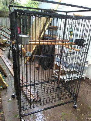 Macaw bird cage black wrought-iron great condition mashita believe it for Sale in Wichita, KS