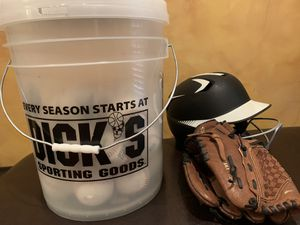 Baseball helmet ,glove and bucket of synthetic Baseballs for Sale in Marietta, GA