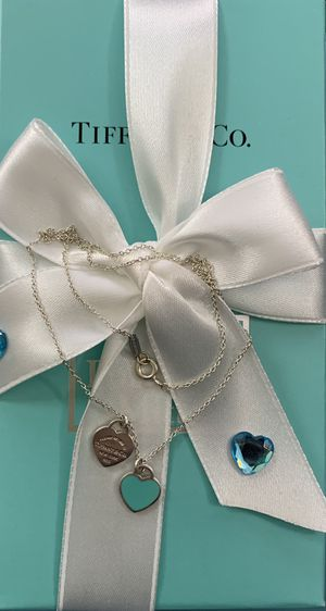 Tiffany & Co mini double heart blue enamel pendant necklaces for Sale in MONTGOMRY VLG, MD