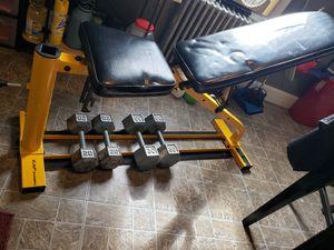 Weight dumbbells 20 30 bench for Sale in Batsto, NJ