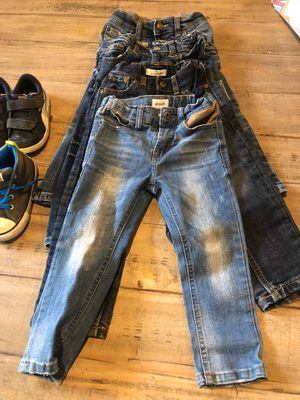 Four pairs 3 T Boy Toddler Jeans. Four pair shoes (Conerse and Puma) size 8 for Sale in Winchester, CA
