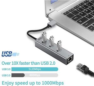 USB to 3 Port USB 3.0 Hub with RJ45 10/100/1000 Gigabit Ethernet LAN Wired Network Converter Hub for Laptops, Computers, Tablets and More for Sale in McLean, VA