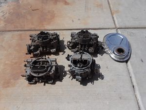 3 AFB carburetors for parts 1 Quadrajet for parts 1 small block Chrome timing cover for Sale in Dinuba, CA