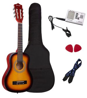 Brand New Classical Guitar 30 Inch Kids Nylon Strings Guitar with Gig Bag, Strap, Picks, 3 in 1 Metronome & Tuner, Sunburst for Sale in Hayward, CA