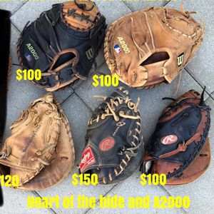 Baseball Catcher Gloves A2000 And Heart Of The Hide Equipment Bats Rawlings Wilson for Sale in Culver City, CA
