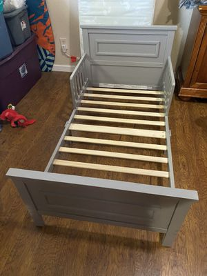 Grey toddler bed with mattress for Sale in Garland, TX