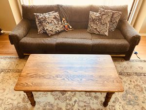 10% off Living Room set (couch and solid oak table, props not included). TP negotiable... for Sale in Long Beach, CA