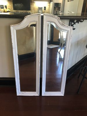Pair of solid wood farmhouse cottage shabby chic rustic vintage French provincial country mirrors for Sale in Southlake, TX