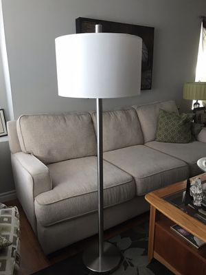 Gorgeous silver chrome floor lamp with white shade for Sale in Buena Park, CA