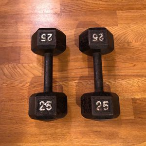 25 Pound Hex Dumbbells Pair for Sale in Dallas, TX