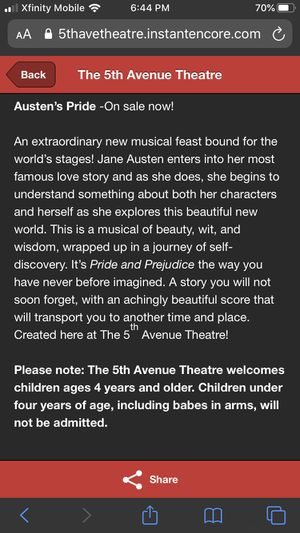 1-6 Tickets to Austen's Pride at 5th Avenue Theater Friday 10/18 for Sale in Bothell, WA