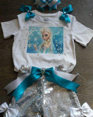 Frozen, Frozen Tutu, Frozen sequin short set, frozen birthday, frozen birthday set, sequin short set, birthday outfit, girls birthday, elsa tutu for Sale in Houston, TX