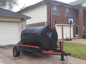 Great Christmas gift for someone 2019 Big Texas Style BBQ Pit with smoker bumper pull 12 ft long 8 ft wide looking to sell today for Sale in Houston, TX