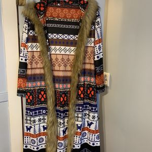 Full Length Cardigan With Faux Fur Edging for Sale in Detroit, MI
