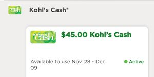 Total 90$ in Kohl's cash (two $45 Kohl's cash vouchers) for Sale in San Jose, CA