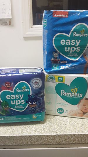 Pampers & wipes 2 25 count Pampers 1 wipes336 for Sale in Stone Mountain, GA