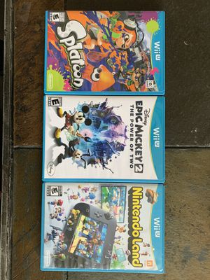 Wii U Nintendo Land, Epic Mickey 2, and Splatoon for Sale in Dallas, TX