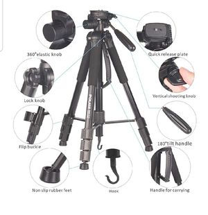 "70""/176.5cm 2-in-1 Tripod Monopod-Camera Tripod AluminumTravel Tripod with Bag for Canon/Nikon/Sony DSLR/SLR Camera for Sale in San Antonio, TX"