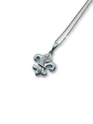 10k Fleur De Lis diamond Necklace for Sale in Alexandria, VA
