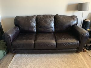 Leather couch- free this weekend. You haul for Sale in Denver, CO