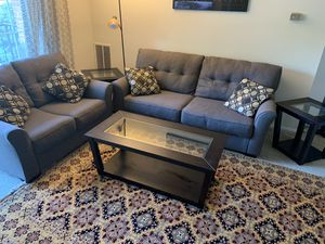 Excellent condition Sofa used only for 4 months With a dining table in great condition and Coffee table with two side table and a beautiful mirror al for Sale in Alexandria, VA