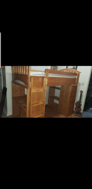 Real wood twin size loft bed for Sale in Portland, OR
