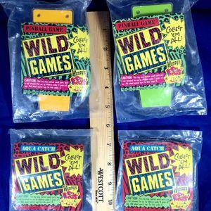 Vintage 1991 Wendy's Kids' Meal Toys - WILD GAMES - New (still sealed in bag) - Partial Set (4 games) - SUPER RARE! for Sale in Brandon, MS