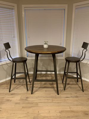Beautiful solid wood pub dining table with two barstools - modern, industrial, farmhouse chic for Sale in Woodinville, WA