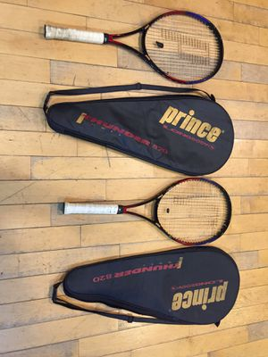 2 Prince longbody Thunder 820 power Tennis rackets with covers for Sale in Chicago, IL