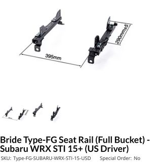 Bride Type FG Seat Rail 2015+ US Driver Side for Sale in Las Vegas, NV