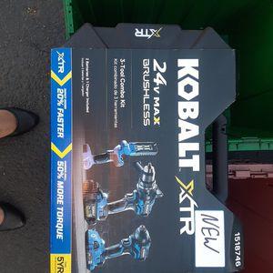BRAND NEW KOBALT XTR 24V BRUSHLESS 3 TOOL COMBO KIT + 2 BATTERIES & 1 CHARGER for Sale in Kent, WA