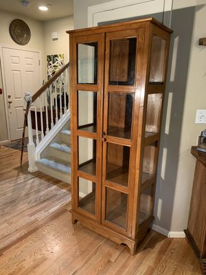 Solid Wood Glass Panel Library Hutch Cabinet for Sale in Redmond, WA