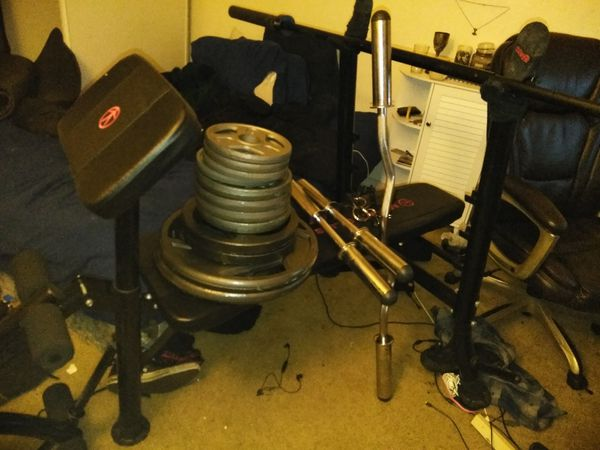 Weight Bench with Bar and Plates