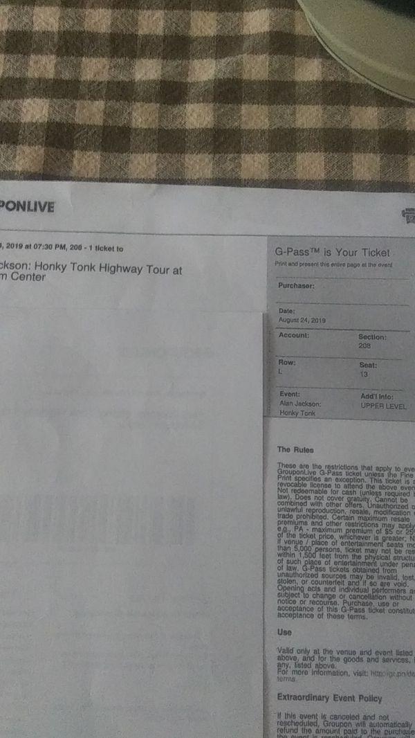4 tickets for Alan Jackson Aug 24th Charlotte NC