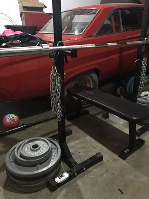 Olympic weights, Squat stand, Bench and Bar for Sale in Kent, WA