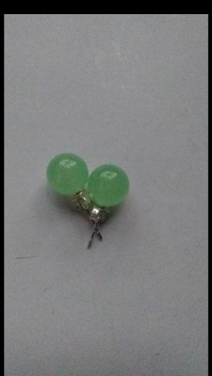 Green jade silver 925 stud earings 10mm for Sale in Richmond, CA